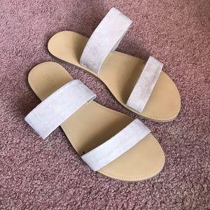 F21 Tan Slip On Sandals